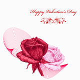 Valentines card with red and pink roses over white background. Pencil drawing Stock Photo