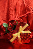 Valentines card with red roses Stock Image