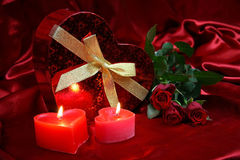 Valentines Day  Romantic Love. Valentine Heart Shape Gift Box and burning candles Royalty Free Stock Photo
