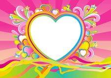 Valentines card at retro style. Empty blank at retro style with  big white heart and many color hearts on abstract background Royalty Free Stock Photos
