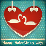 Valentines Card with Swans Royalty Free Stock Image