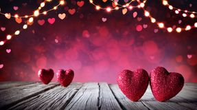 Valentines Card - Two Hearts royalty free stock photography