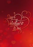 Valentines Card - 2014 Valentines Day - Red. Valentine's Card with Custom Handwriting Calligraphic typography on a Red background. The line art follows on double Royalty Free Stock Photography