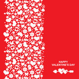 Valentines card with vertical valentines ornament Stock Photography