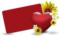 Valentines card width flowers Royalty Free Stock Photo