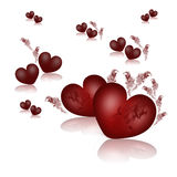 Valentines Card With Red Hearts Stock Images
