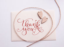 Valentines card with wooden heart and text Thank you Royalty Free Stock Photos