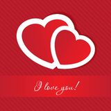 Valentines cards with two hearts Stock Photography