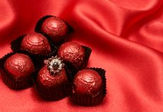 Valentines chocolate candy with a ring Royalty Free Stock Photo