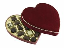Valentines Chocolates. Opened box of valentines chocolates isolated on white Stock Photo