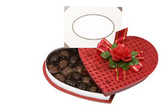 Valentines chocolates box. Open valentines chocolates box isolated on white Royalty Free Stock Photography