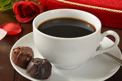 Valentines Chocolates and Coffee Royalty Free Stock Photography