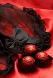 Valentines chocolates with lingerie Stock Photo