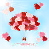 Valentines colorful balloons in the sky Royalty Free Stock Photography