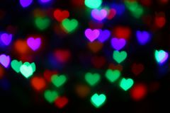 Valentines Colorful Heart-shaped Bokeh On Black Background Lighting Bokeh For Decoration At Night Wallpaper Blur Valentine Stock Images