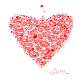 Valentines composition of the hearts and kisses. L Royalty Free Stock Photos
