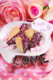 Valentines cookies in heart shape Stock Image