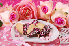 Valentines cookies in heart shape Royalty Free Stock Photography