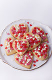 Valentines cookies in small plate. Heart shaped cookies on round plate Stock Photography