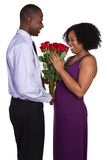 Valentines Couple. Beautiful happy valentines roses couple Royalty Free Stock Photography