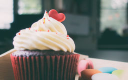 Valentines Cupcake topped with red heart candy Stock Photos