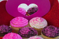 Valentines Cupcakes. Colorful Valentines Cupcakes with pink sprinkles, chocolate and vanilla Royalty Free Stock Photos