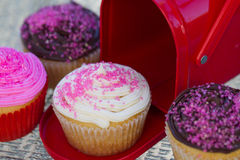 Valentines Cupcakes. Colorful Valentines Cupcakes with pink sprinkles, chocolate and vanilla Royalty Free Stock Images