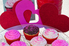 Valentines Cupcakes. Colorful Valentines Cupcakes with pink sprinkles, chocolate and vanilla Stock Photo