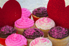 Valentines Cupcakes. Colorful Valentines Cupcakes with pink sprinkles, chocolate and vanilla Stock Photos