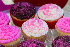 Valentines Cupcakes. Colorful Valentines Cupcakes with pink sprinkles, chocolate and vanilla Stock Photography