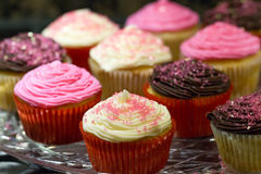 Valentines Cupcakes. Colorful Valentines Cupcakes with pink sprinkles, chocolate and vanilla Stock Image
