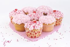 Valentines Cupcakes with sprinkles centered. Eight pink Valentine's cupcakes with sprinkles and candy hearts centered with background space, isolated Stock Image