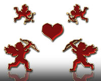 Valentines cupids Stock Photos