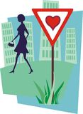 Valentines dangers 2. Valentines day´s dangers: attention, love is in the air! Silhouette of a young woman in urban setting stock illustration