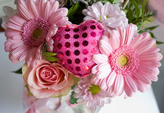 Valentines day,. Bouquet with textile heart, by day of Valentine Stock Photos