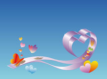 Valentines day. Ribbon-heart on a background sky Stock Photo