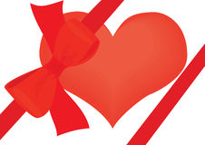 Valentines day. Illustration raster, the heart which has been tied up by a red tape with a bow on a white background Royalty Free Stock Photos
