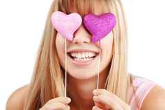 Valentines day. Portrait of beautiful young romantic girl in Valentines day Stock Photos