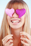 Valentines day. Portrait of beautiful young romantic girl in Valentines day Stock Image