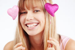 Valentines day. Portrait of beautiful young romantic girl in Valentines day Stock Photo