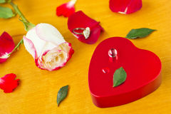 Valentines Day_16. Symbol of heart, rose and pearl Stock Photos