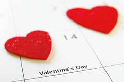 Valentines day. Closeup of a calendar showing Valentines Day Royalty Free Stock Photography