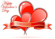 Valentines Day. Background with Hearts and ribbon, element for design, vector illustration Royalty Free Stock Photos
