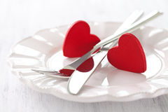 Valentines day. Place setting for valentines day Stock Photos