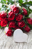 Valentines day. With roses and heart Royalty Free Stock Photography