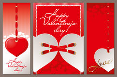Valentines Day. Valentine`s day. Heart. Red ribbons Royalty Free Stock Images