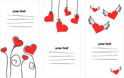 Valentines day. Vertical set of Valentines Day cards Stock Image