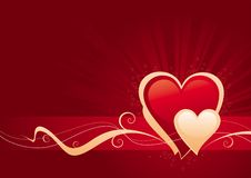 Valentines day. Vector background with two hearts and decorative elements