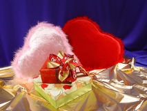 Valentines day. Gifts in Valentines day Royalty Free Stock Photo