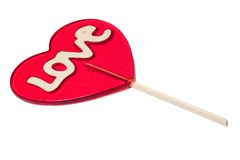 Valentines day. Valentine's day lollipop with the word love on it Royalty Free Stock Photo